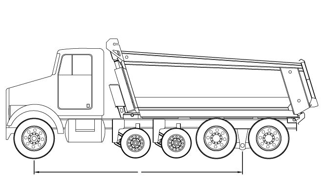 Bridge law example: quad-axle dump truck with 215 inch wheelbase and 60,500 lbs GVW