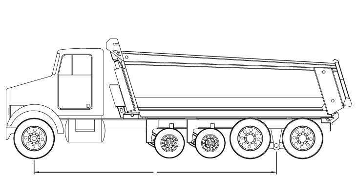 Bridge Law Example Quad Axle Dump Truck With 250 Inch Wheelbase And 62 500 Lbs