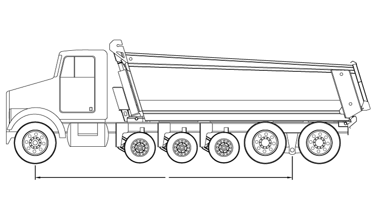 Bridge law example: quint dump truck with 258 inch wheelbase and 68,500 lbs GVW