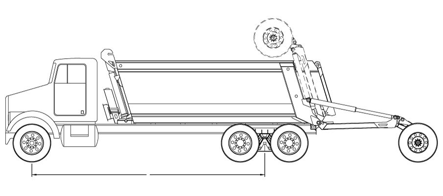 Bridge law example: 4-axle super dump truck with 257 inch wheelbase and 66,000 lbs GVW