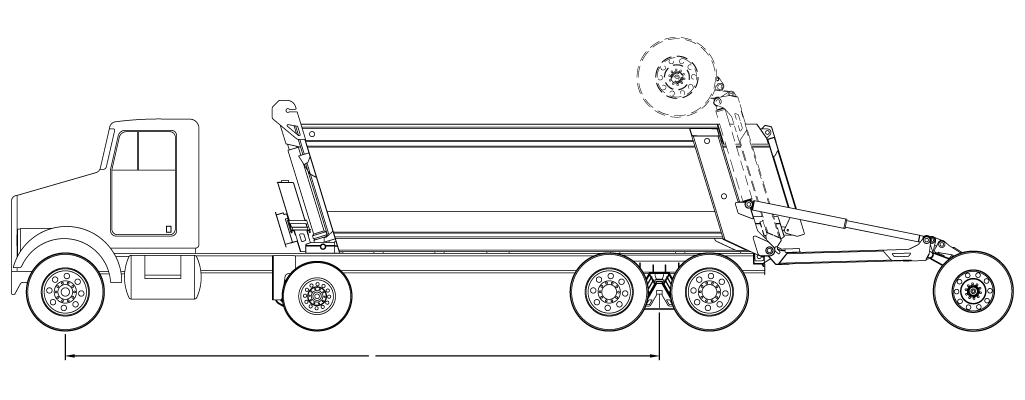 Bridge law example: 5-axle super dump truck with 318 inch wheelbase and 81,000 lbs GVW