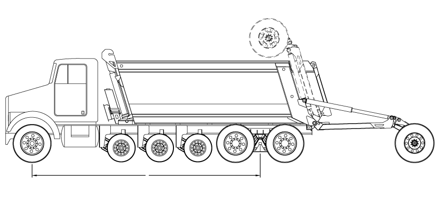 Bridge law example: 7-axle super dump truck with 250 inch wheelbase and 80,000 lbs GVW
