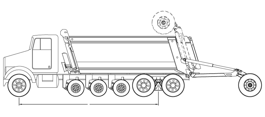 Bridge law example: 7-axle super dump truck with 258 inch wheelbase and 80,000 lbs GVW