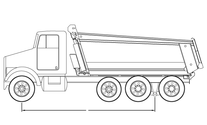 Bridge law example: tri-axle dump truck with 217 inch wheelbase and 80,000 lbs GVW