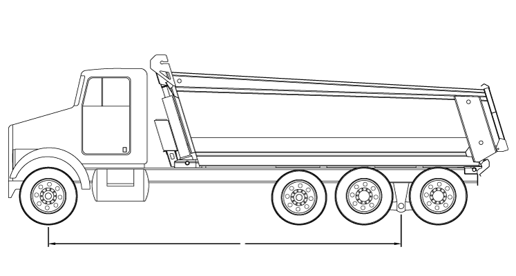 Bridge law example: tri-axle dump truck with 257 inch wheelbase and 58,000 lbs GVW