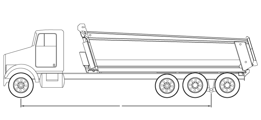 Bridge law example: tri-axle dump truck with 317 inch wheelbase and 61,500 lbs GVW